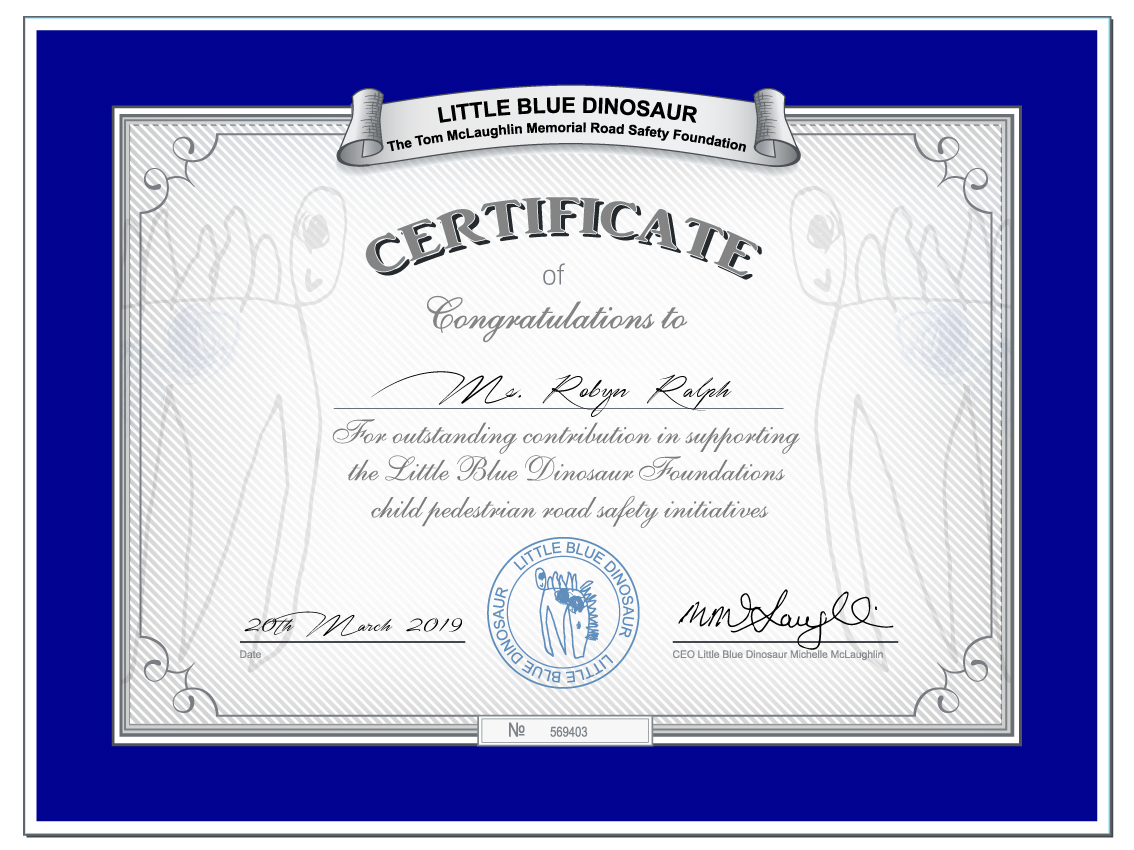 Little Blue Dinosaur Road Safety Certificate 2019