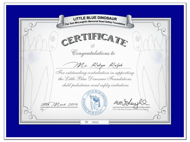 Little Blue Dinosaur Road Safety Certificate 2019