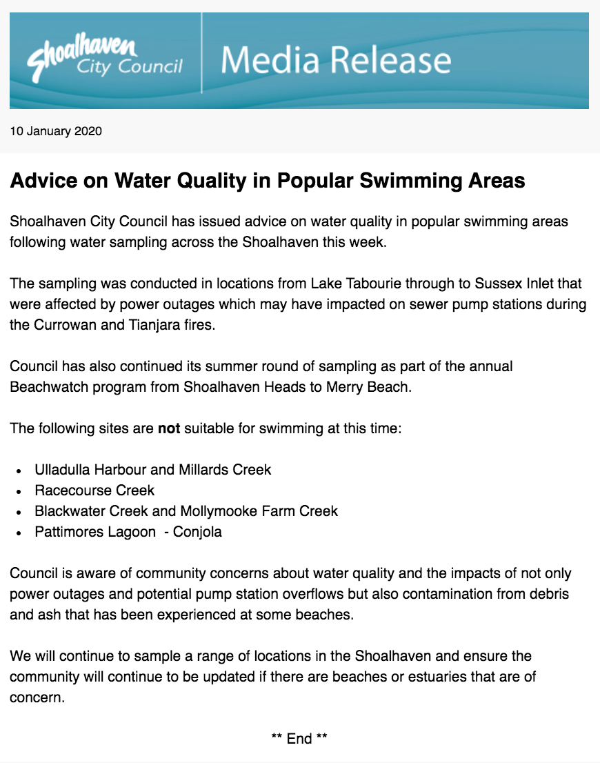 10 Jan 2020 SCC Media Release Advice on Water Quality in Popular Swimming Areas