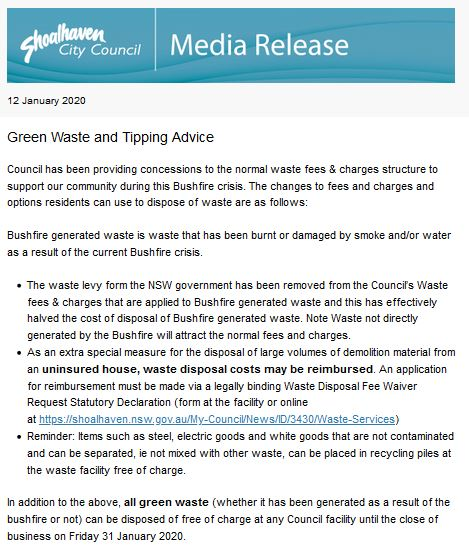 12 Jan 2020 SCC Media Release Green Waste and Tipping Advice