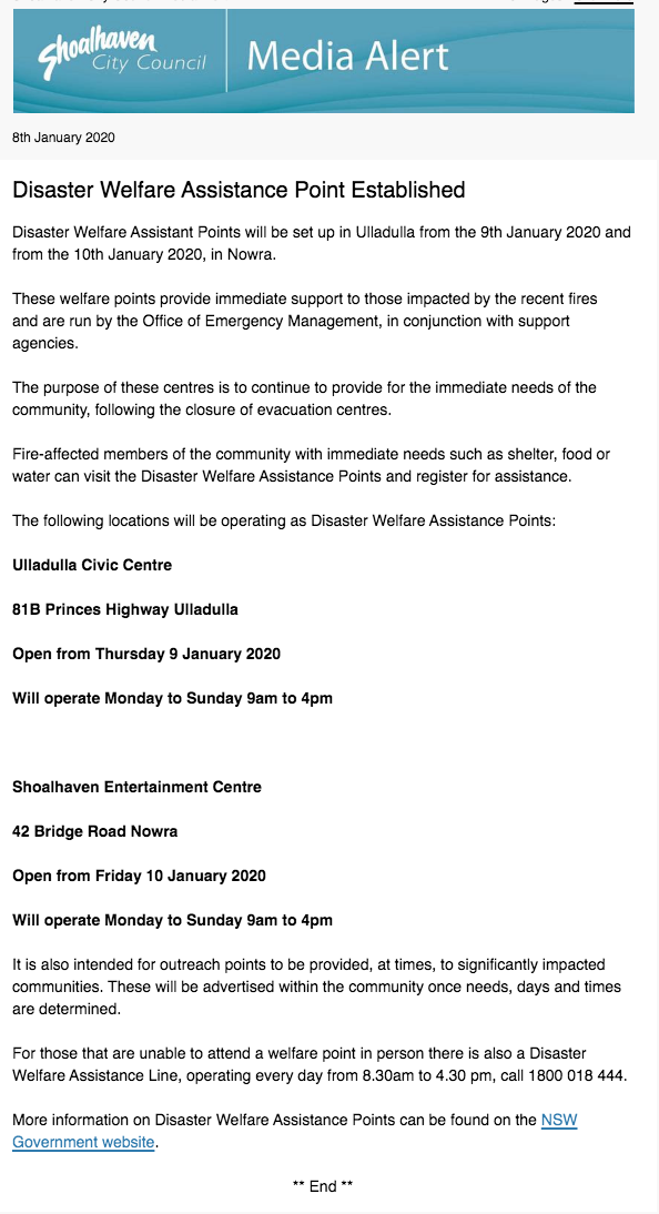 8 Jan 2020 SCC Media Alert Disaster Welfare Assistance Point